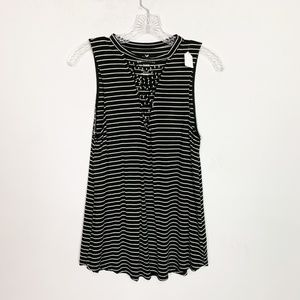 AE soft & sexy black & white striped lace up tank